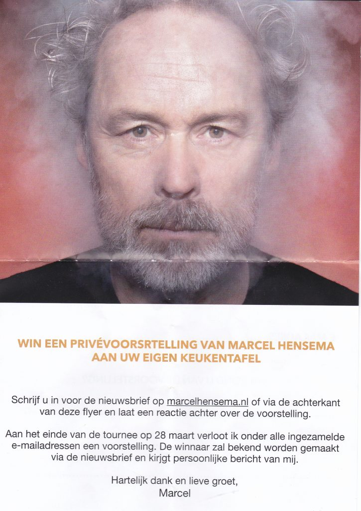 Marcel hensema flyer voorstelling