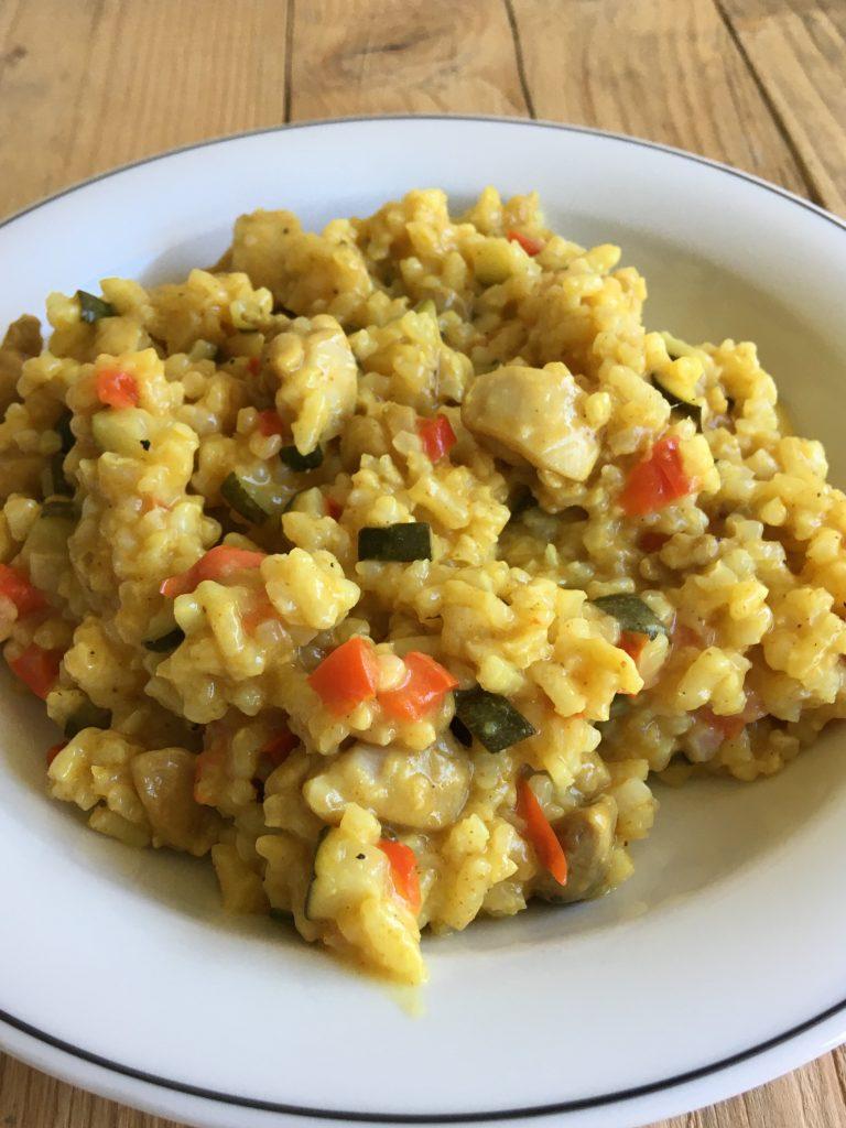 risotto met courgette en gekruide kip